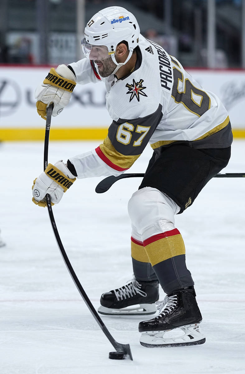 Vegas Golden Knights left wing Max Pacioretty shoots against the Colorado Avalanche during the ...
