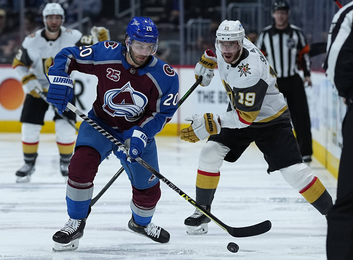 Colorado Avalanche left wing Brandon Saad (20) moves the puck against Vegas Golden Knights righ ...