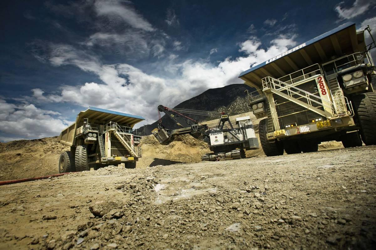P&H electric mining shovel loads a Liebherr T282B trucks at the Barrick Gold Corp.Cortez mine, ...