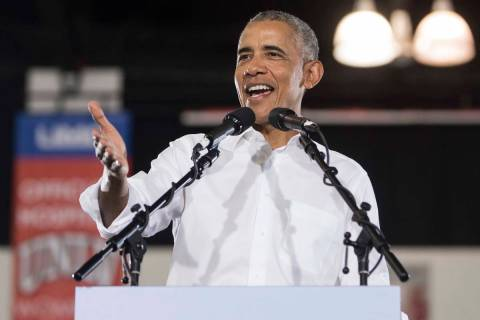Former President Barack Obama speaks during a rally at Cox Pavilion on Monday, Oct. 22, 2018, i ...