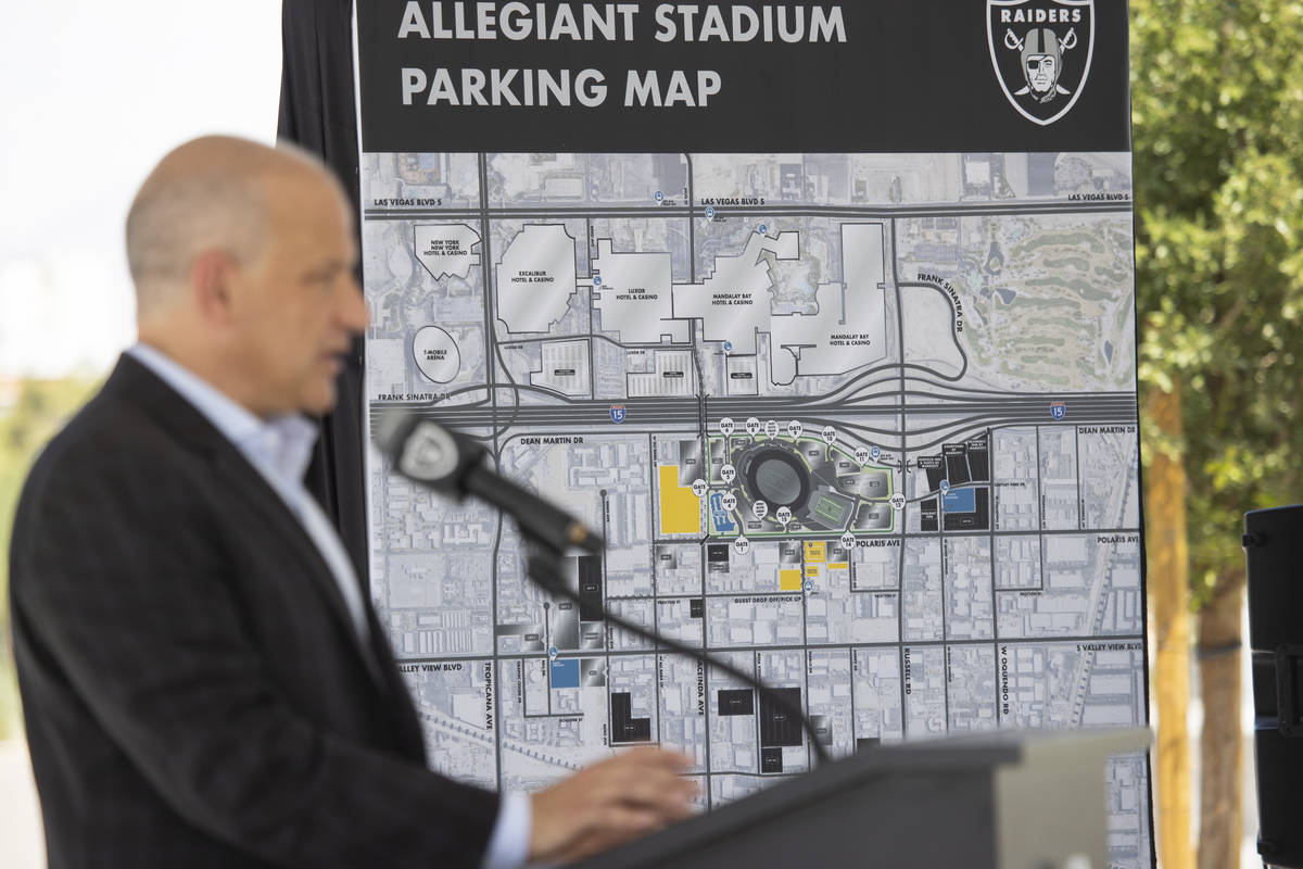 A map detailing on site parking at Allegiant Stadium is displayed during a press conference on ...