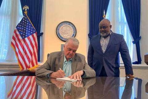 Gov. Steve Sisolak signs Assembly Bill 321, a voting reform bill that makes mail-in voting perm ...