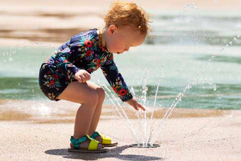 Mabel Peters, 18 months, plays at Paseo Vista Park, on Wednesday, June 2, 2021, in Henderson. T ...