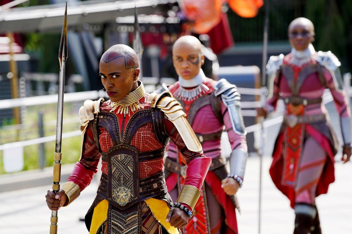 """Characters from the film """"Black Panther"""" perform during """"The Warriors of Wakanda: The Disciplin ..."""