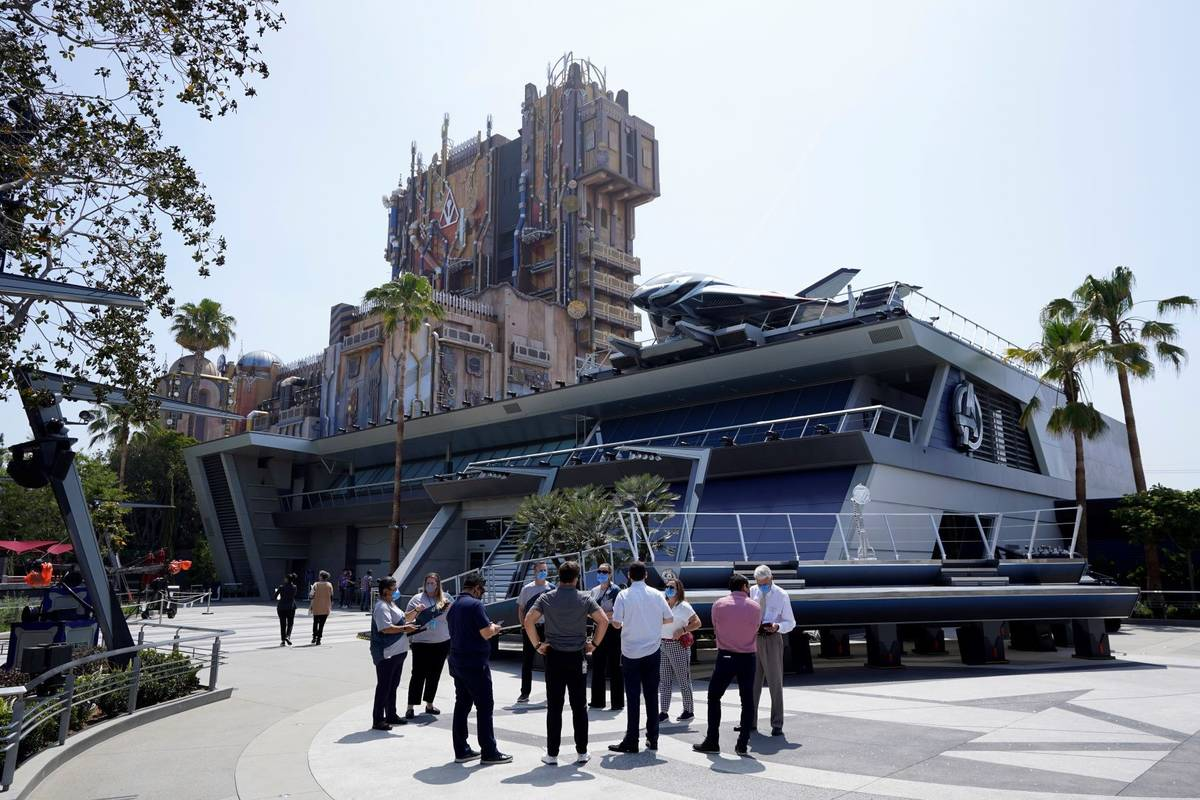 A view of the Avengers Campus appears during a media preview at Disney's California Adventure P ...