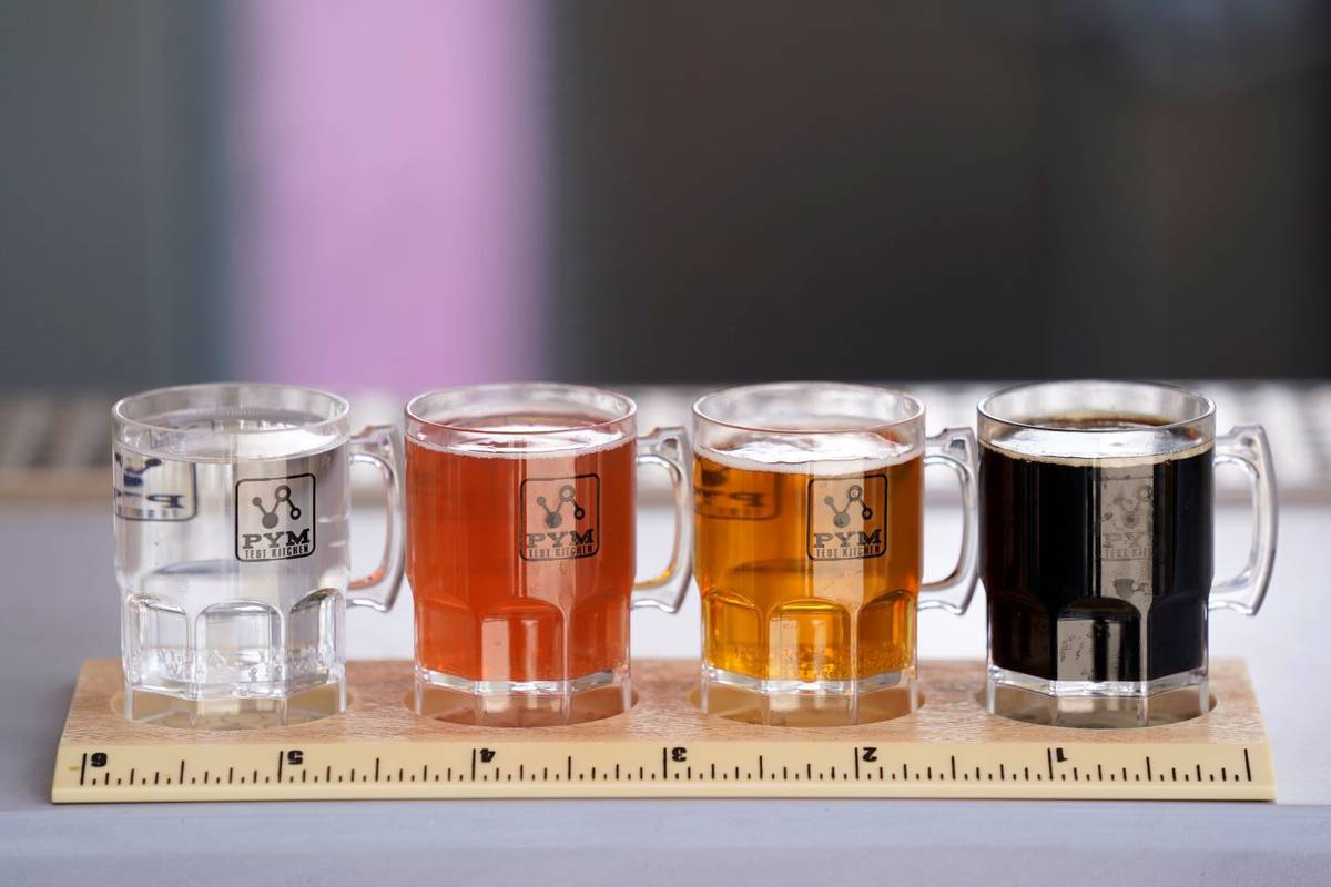 The Pint-Sized Mini Beer Flight from the PYM Tasting Lab appears at the Avengers Campus media p ...