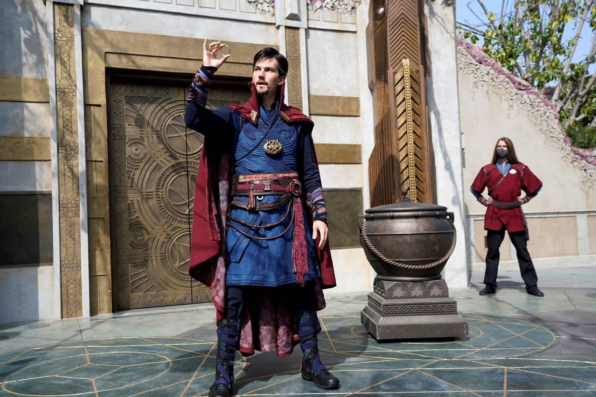 """A Doctor Strange character performs during the """"Doctor Strange: Mysteries of the Mystic Arts"""" s ..."""
