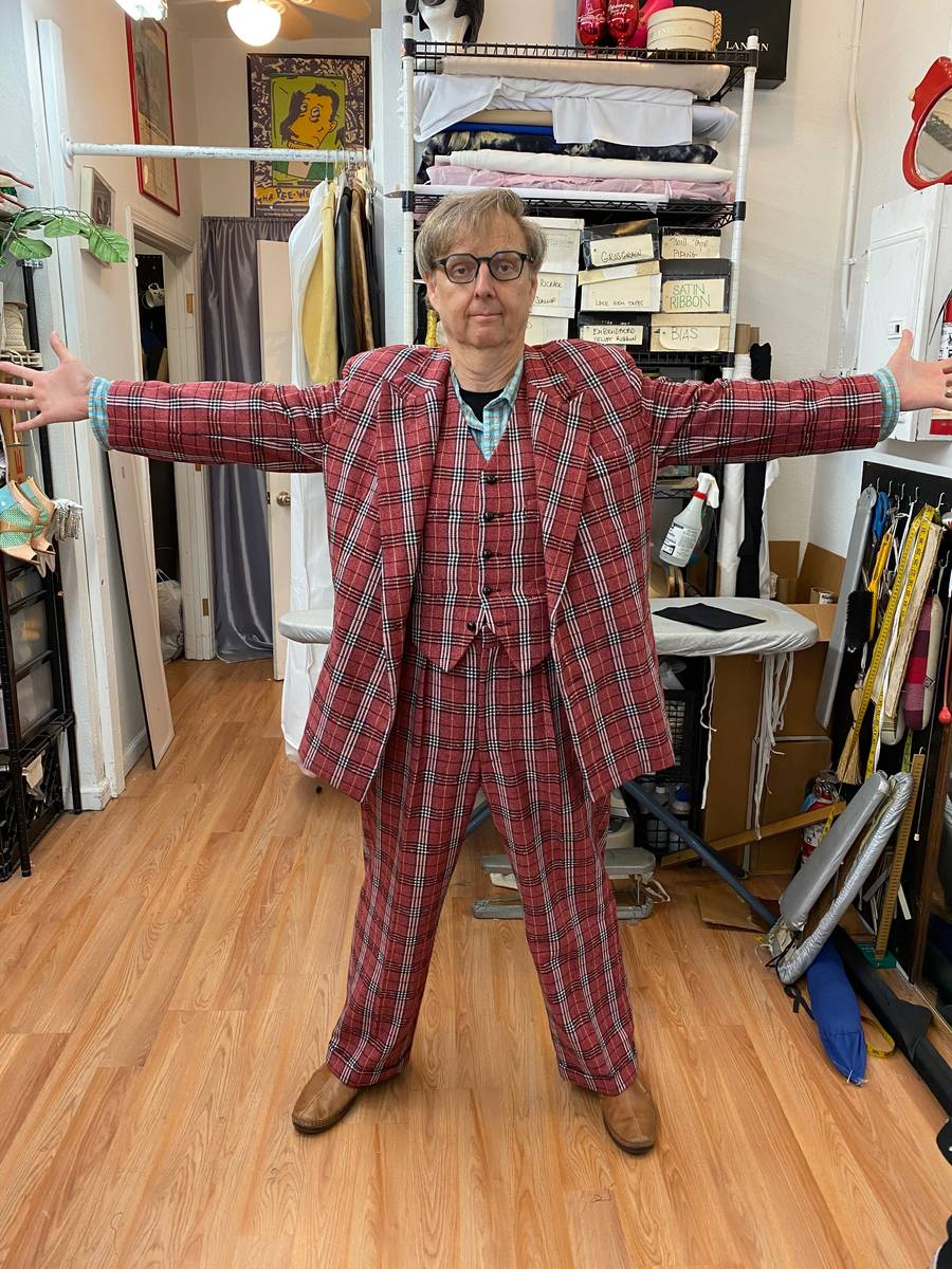 Mac King shows off his new/old plaid stage suit, tailored for him by costume designer margaretr ...
