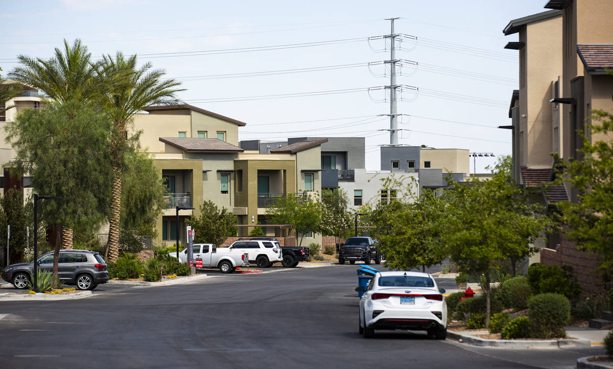 Town homes and condominiums at Affinity by Taylor Morrison in Summerlin just west of the 215 Be ...