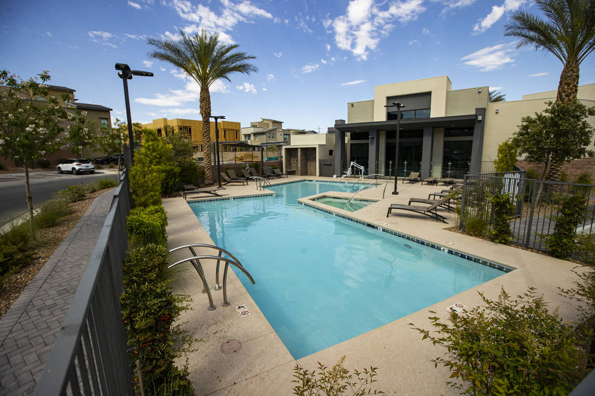 A community pool area at Affinity by Taylor Morrison in Summerlin just west of the 215 Beltway ...