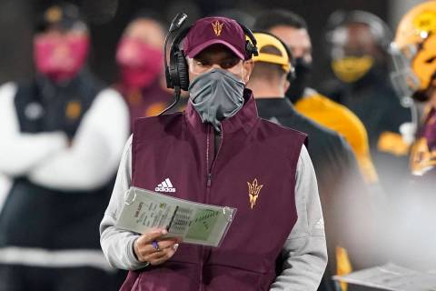 Arizona State head coach Herm Edwards against UCLA during the first half of an NCAA college foo ...