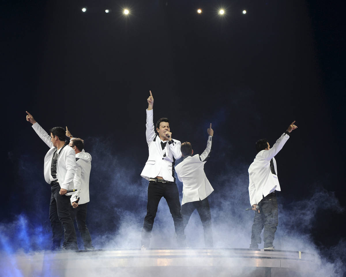 Danny Wood, Joey McIntyre, Donnie Wahlberg, Jordan Knight, and Jonathan Knight of New Kids on ...