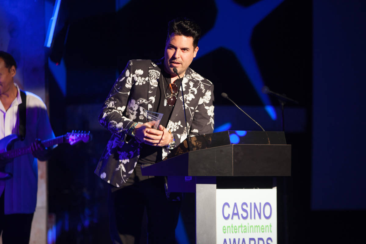Frankie Moreno accepts his Casino Musical Artist of the Year award at the seventh annual Casino ...