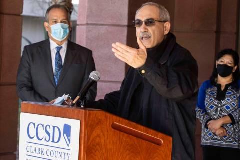 John Vellardita, executive director of the Clark County Education Association (CCEA), speaks as ...