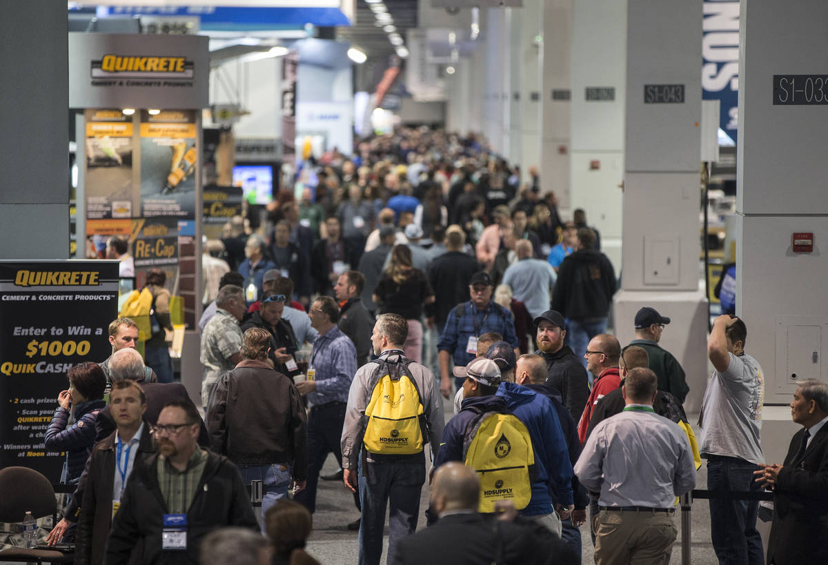 Convention goers pack the South Hall during day three of the World of Concrete trade show on Th ...