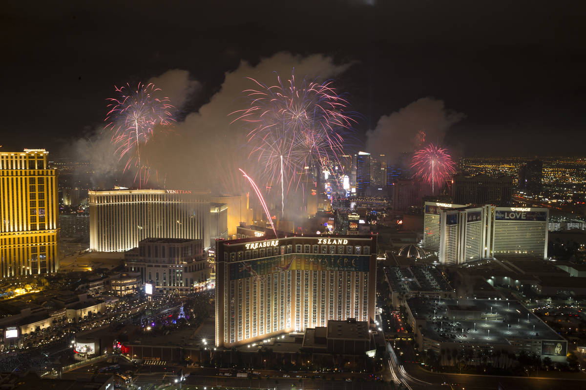 New Year fireworks on the Strip as seen from the Trump hotel on Sunday, Jan. 1, 2017, in Las Ve ...