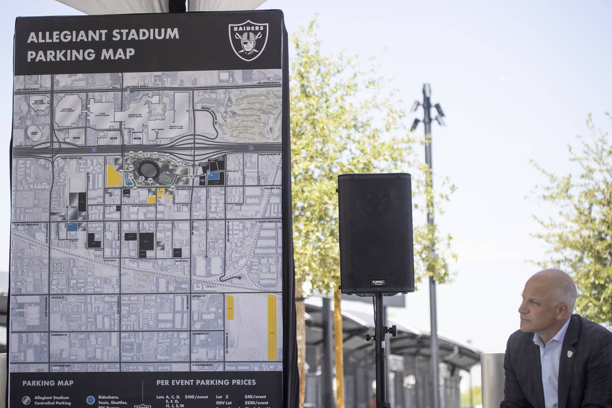 Las Vegas Raiders President Marc Badain participates during a press conference on the parking a ...