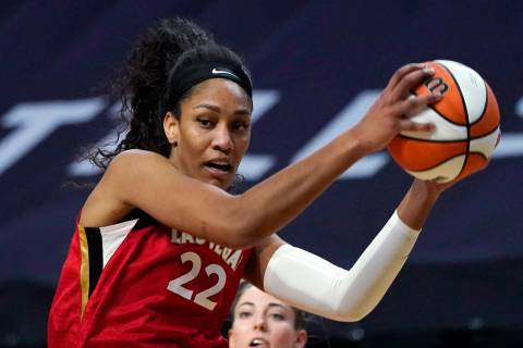 Las Vegas Aces' A'ja Wilson in action against the Seattle Storm during a WNBA basketball game S ...