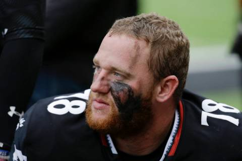Cincinnati offensive lineman Parker Ehinger (78) sits on the sideline in the second half of an ...