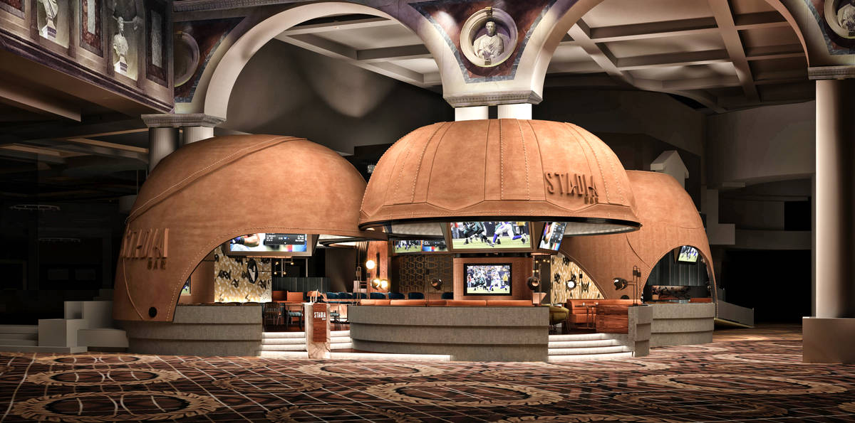 An artist's rendering of Stadia's exterior, complete with VIP leather-wrapped viewing domes. (R ...