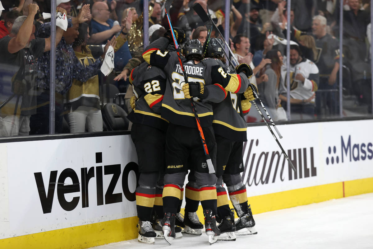 Vegas Golden Knights celebrate a score by left wing Max Pacioretty (67) in the third period of ...