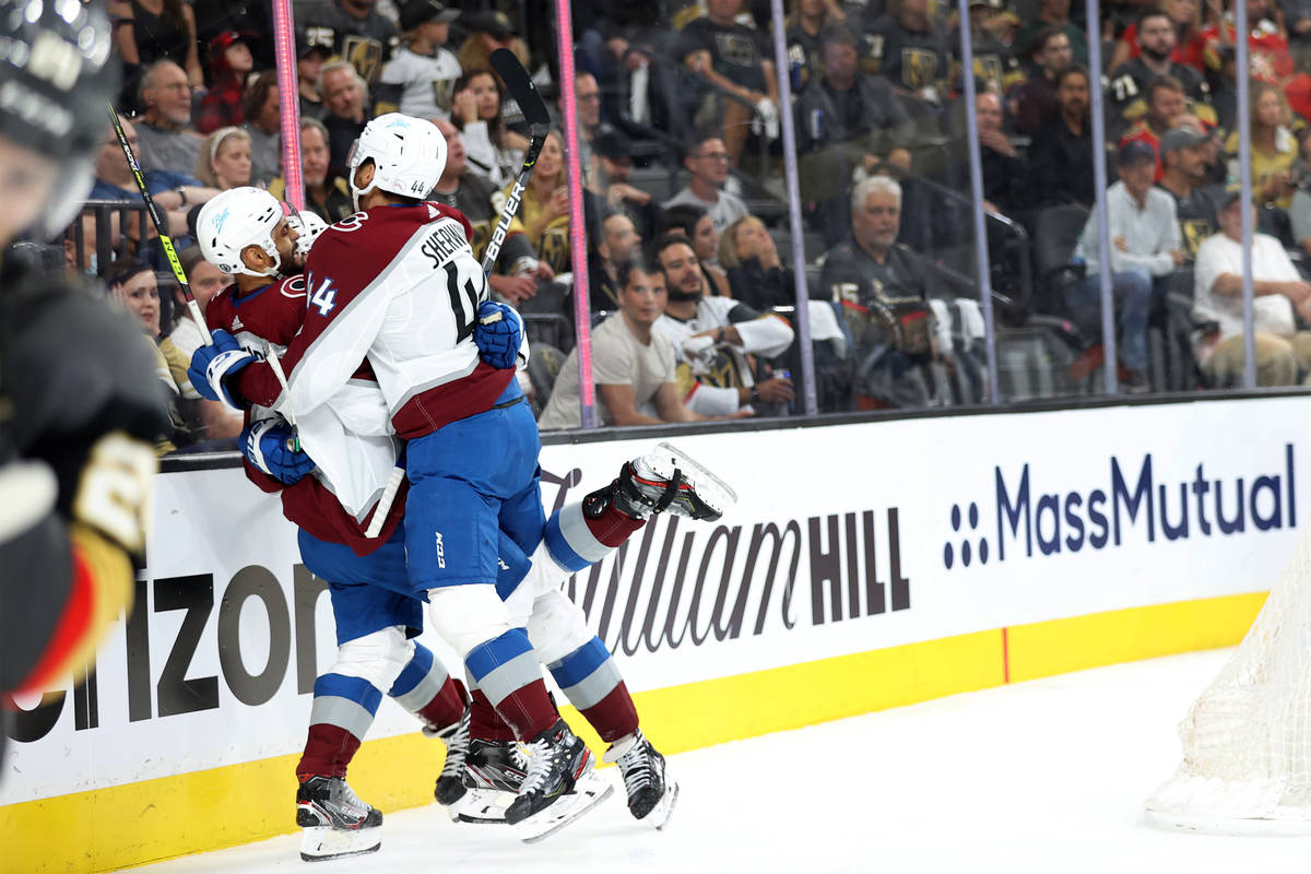 Colorado Avalanche celebrate a goal in the second period of Game 3 of a second-round NHL hockey ...