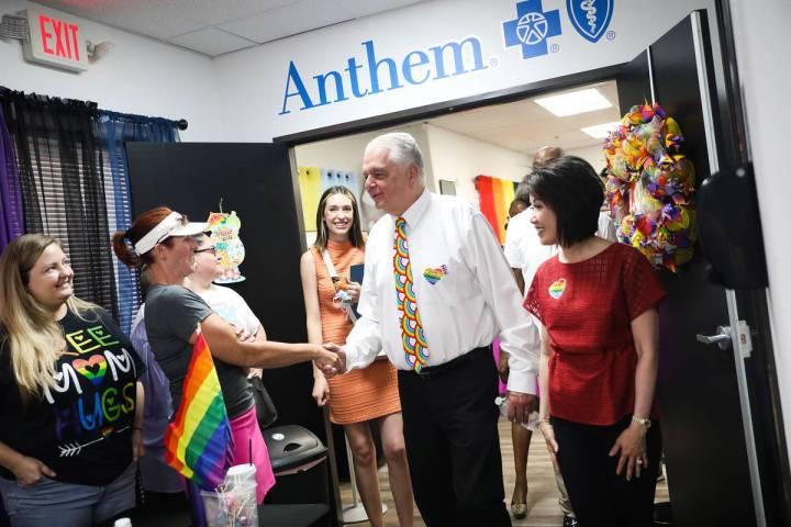 Gov. Steve Sisolak greets vendors alongside his wife Kathy Sisolak as they tour the Henderson E ...