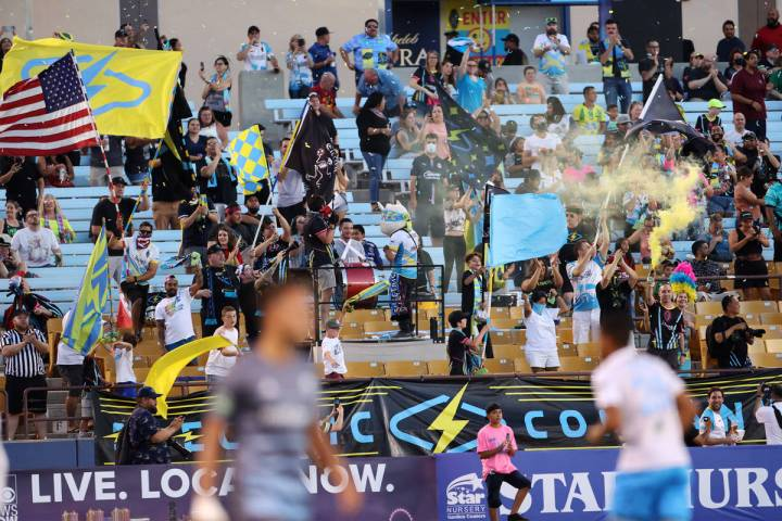 Fans celebrates a score by the Las Vegas Lights against the Tacoma Defiance in the first half o ...