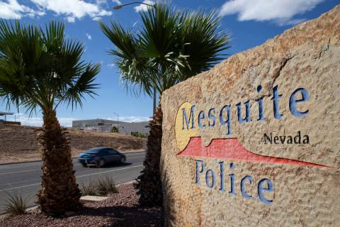 A vehicle passes the Mesquite Police Department on Wednesday, June 2, 2021, in Mesquite. (Ellen ...