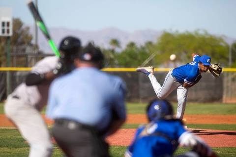 Bishop Gorman pitcher Tyler Avery (31) throws to Palo Verde during a high school baseball game ...