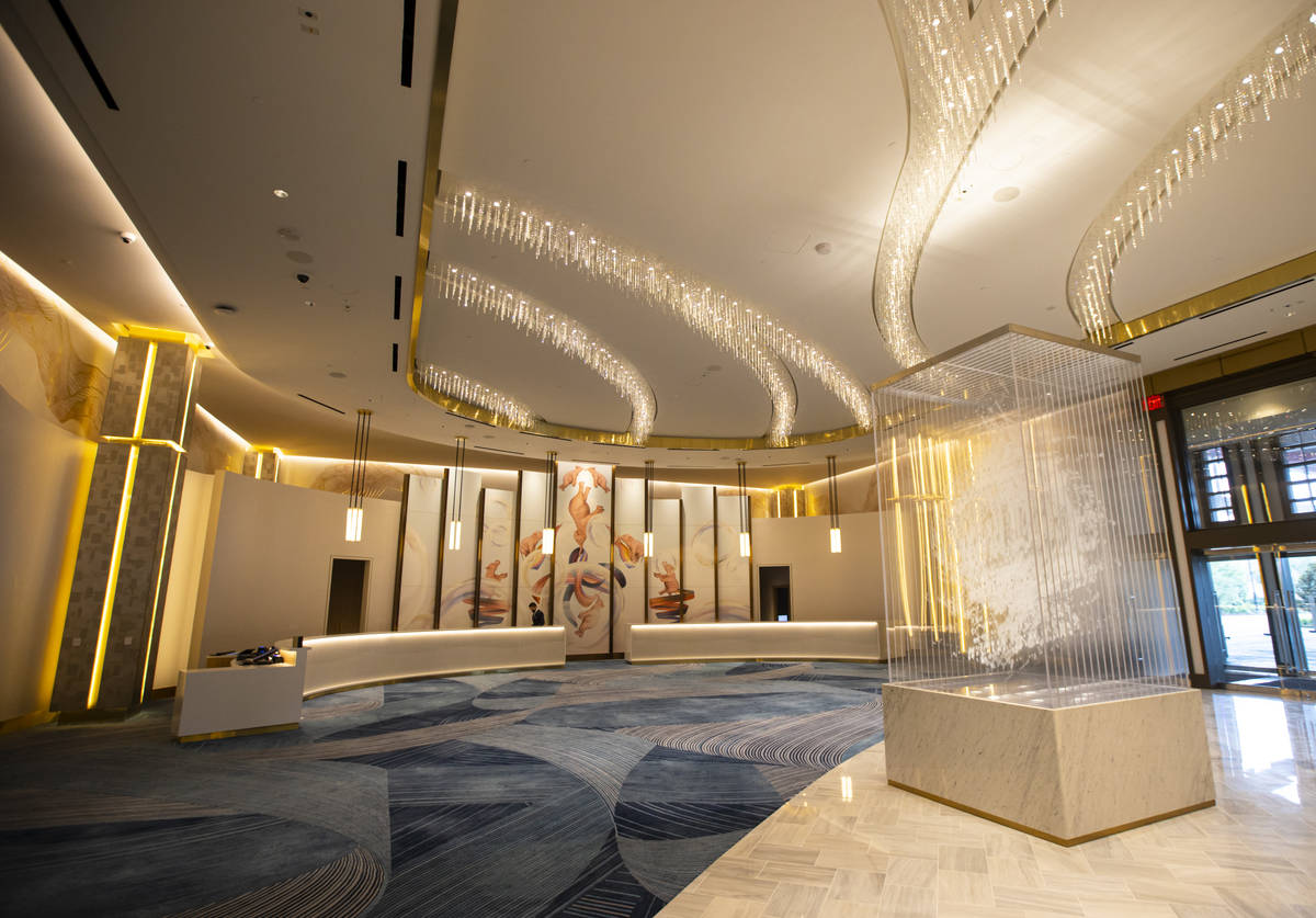 The Conrad hotel lobby is seen during a tour of Resorts World ahead of it's opening in Las Vega ...