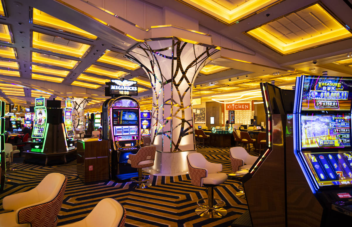 A column featuring contemporary design is seen on the casino floor during a tour of Resorts Wor ...