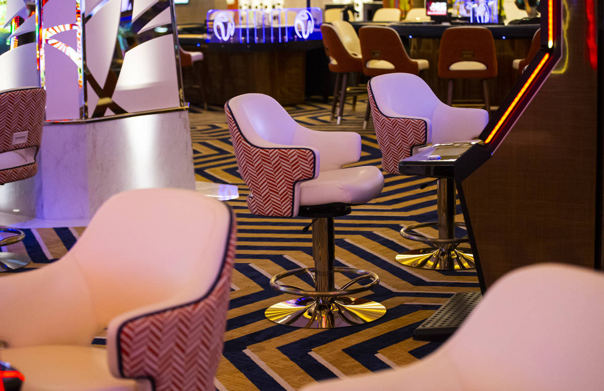 Details of the carpet and chair design on the casino floor during a tour of Resorts World ahead ...