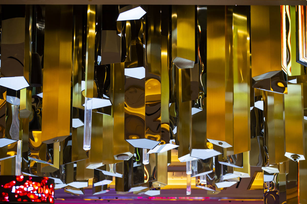 Design details from the Crystal Bar on the casino floor are seen during a tour of Resorts World ...