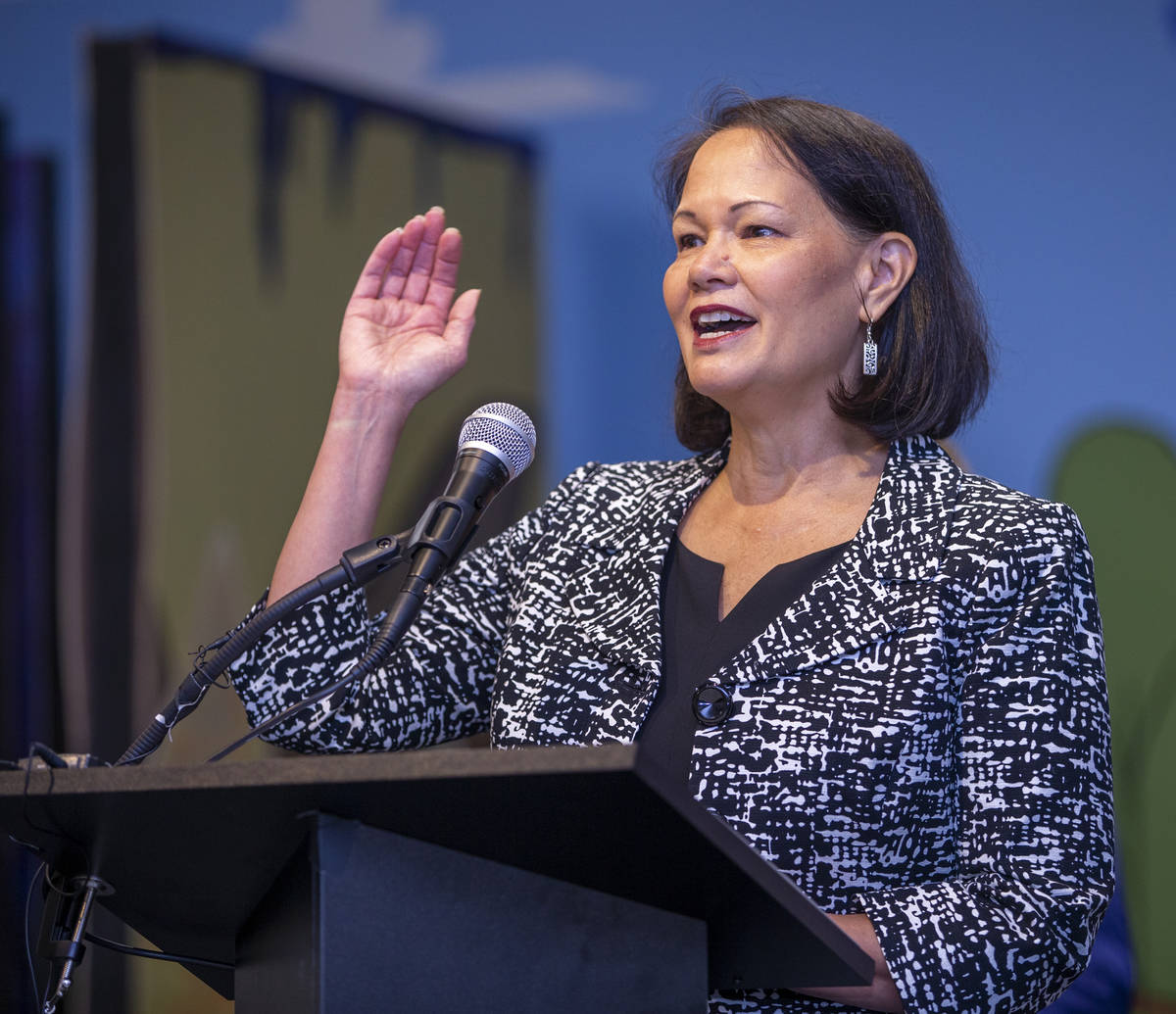 State Superintendent of Public Instruction Jhone Ebert speaks during a ceremony for four bill s ...