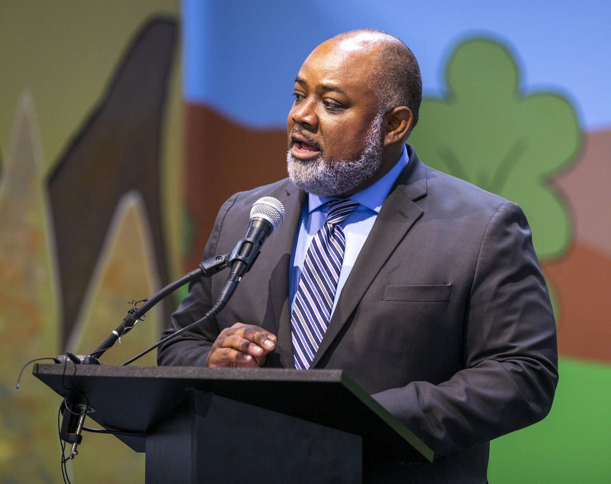 Assembly Speaker Jason Frierson speaks during a ceremony for four bill signings at Fay Herron E ...