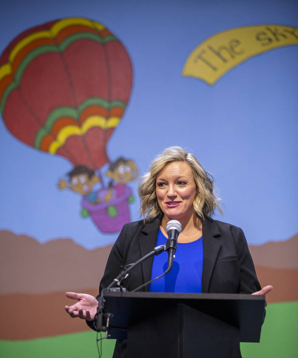 Majority Leader Nicole Cannizzaro speaks a ceremony for four bill signings at Fay Herron Elemen ...