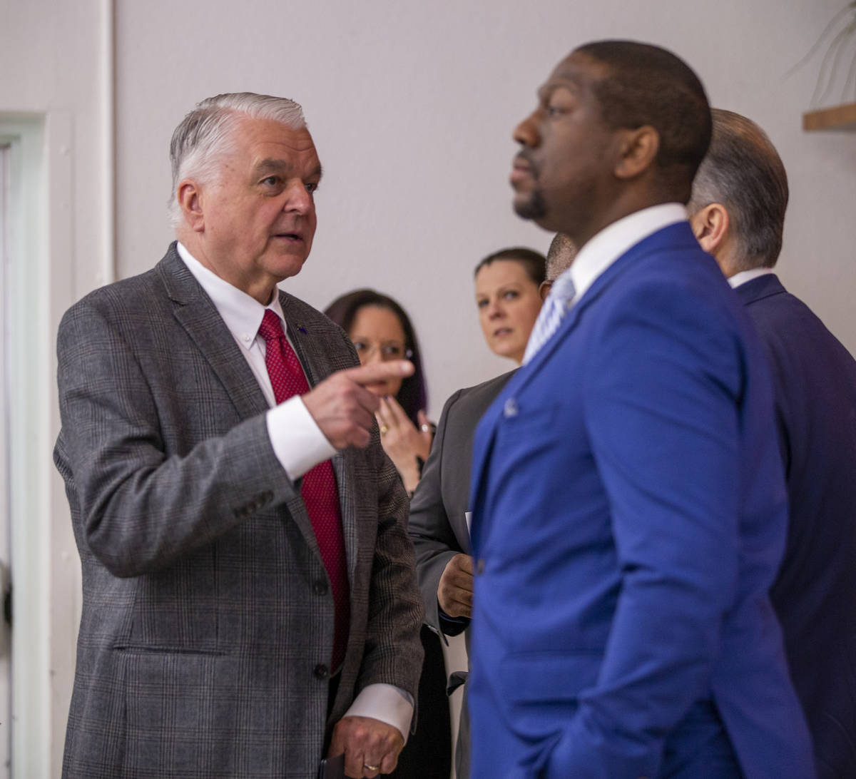 Gov. Steve Sisolak talks with President of the Nevada Mining Association Tyre Gray and others b ...