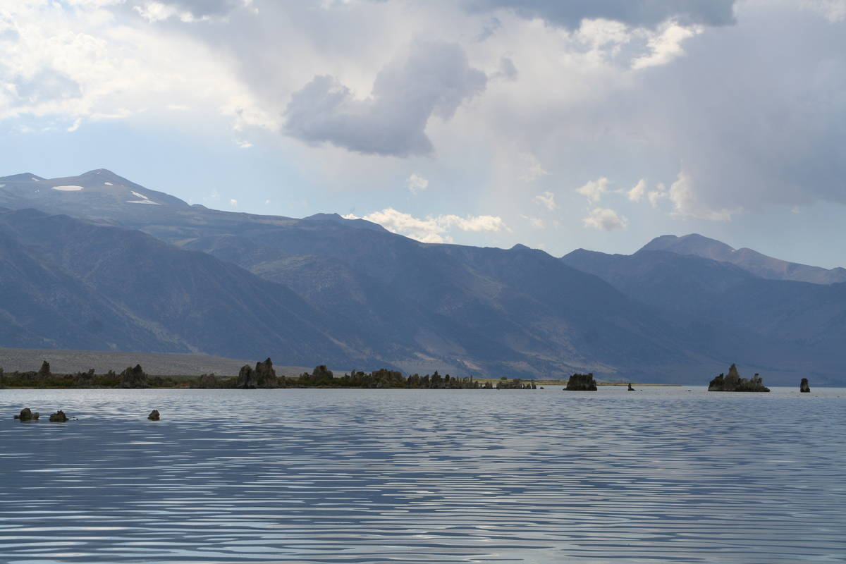 Mono Lake, located at the base of the east side of the Sierra Nevada Range is about two- and on ...