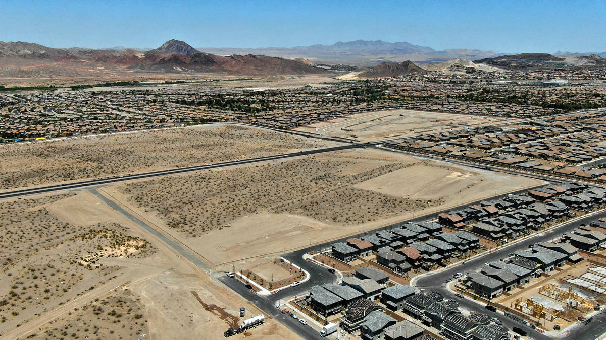 An aerial view of Cadence, a housing development near Galleria Drive and Cadence Vista Drive in ...