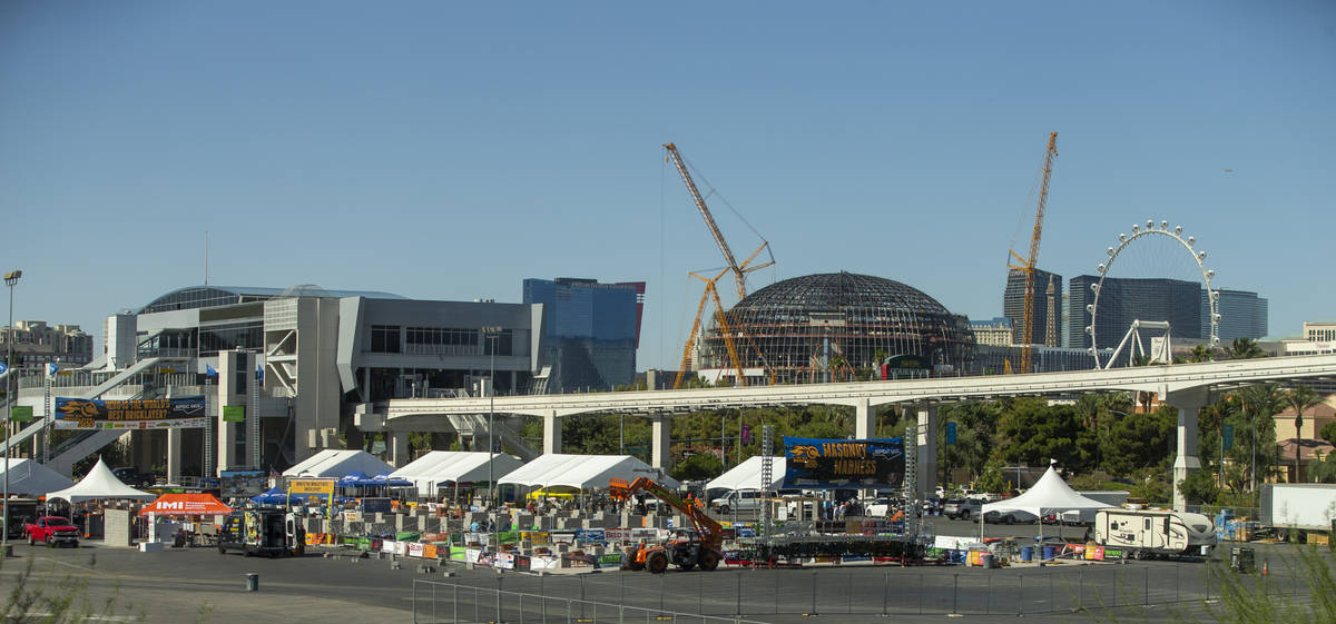 World of Concrete 2021 vendor displays are set up in the parking lot across from the Central Ha ...