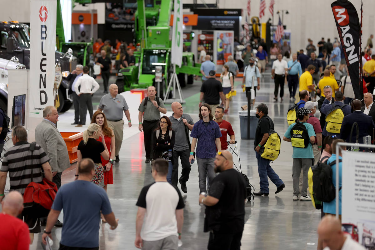 Conventioneers at the World of Concrete trade show at the Las Vegas Convention Center's new $1 ...