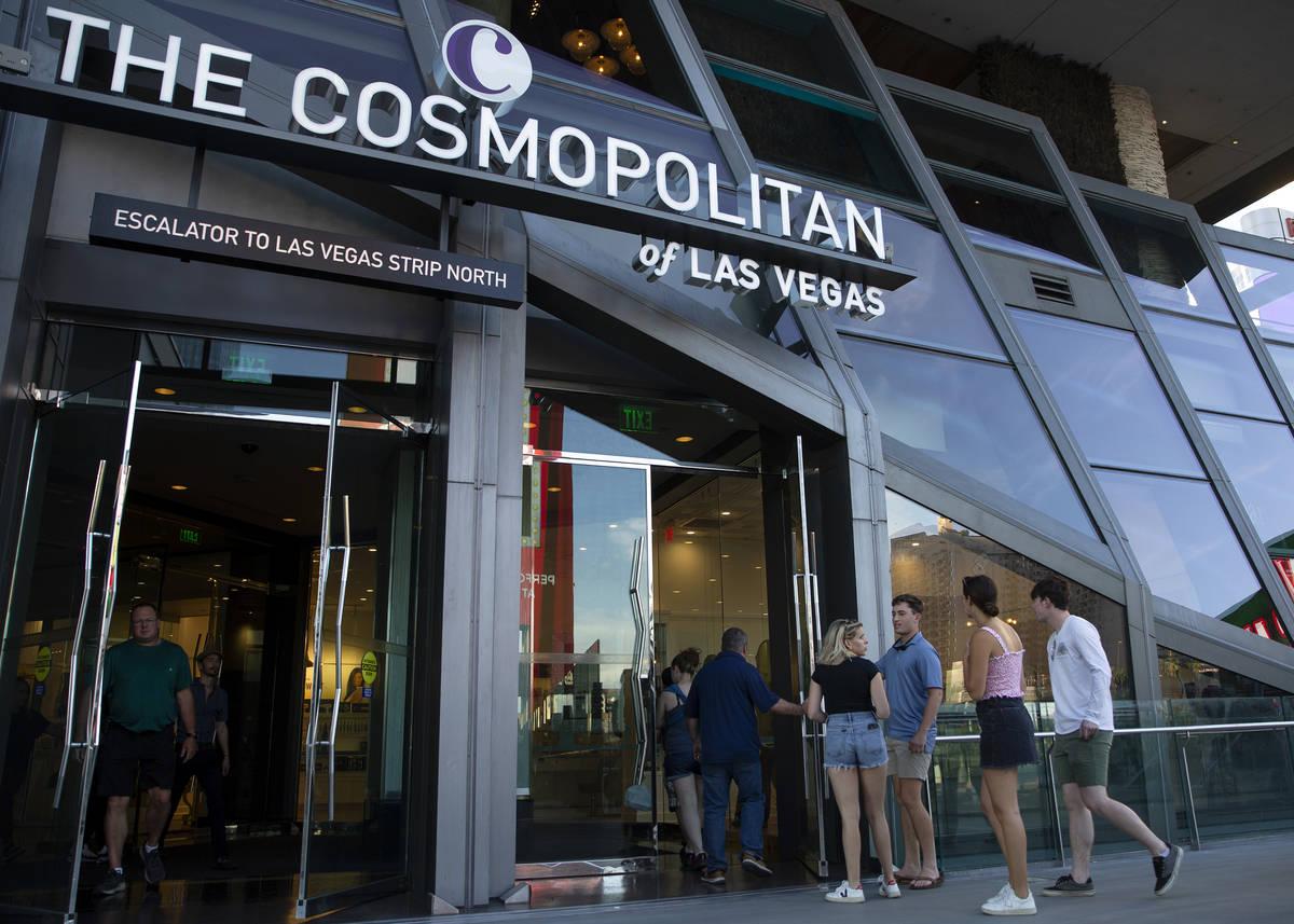 Visitors to the Las Vegas Strip enter Cosmopolitan of Las Vegas on Wednesday, June 9, 2021. The ...