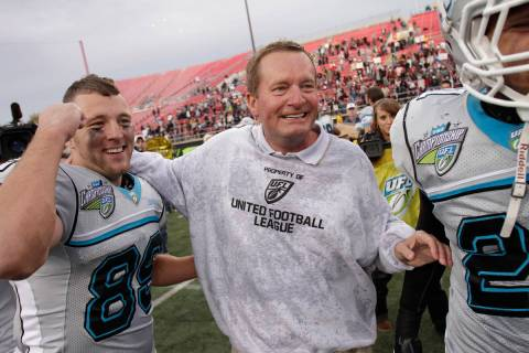 Las Vegas Locos coach Jim Fassel celebrates after defeating the Florida Tuskers in the UFL Cham ...