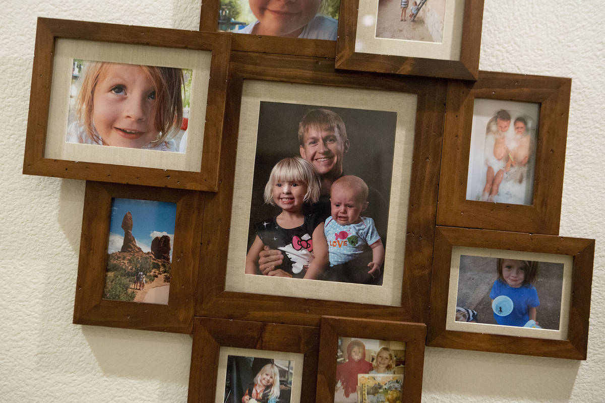 Images of Shane Peterson and his daughters, Clara and Frida, at his home in Henderson on Nov. 1 ...