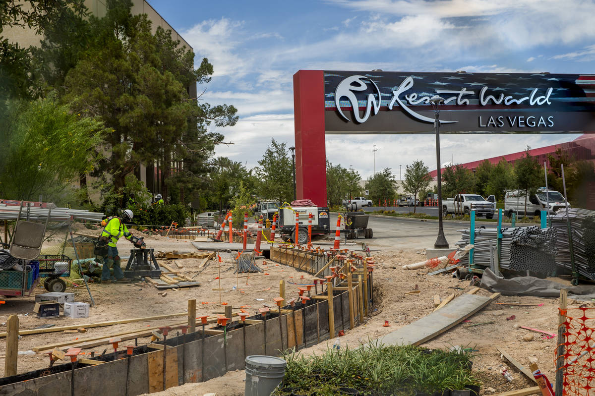 Resorts World Las Vegas construction continues near the entrance on Wednesday, June 9, 2021, in ...