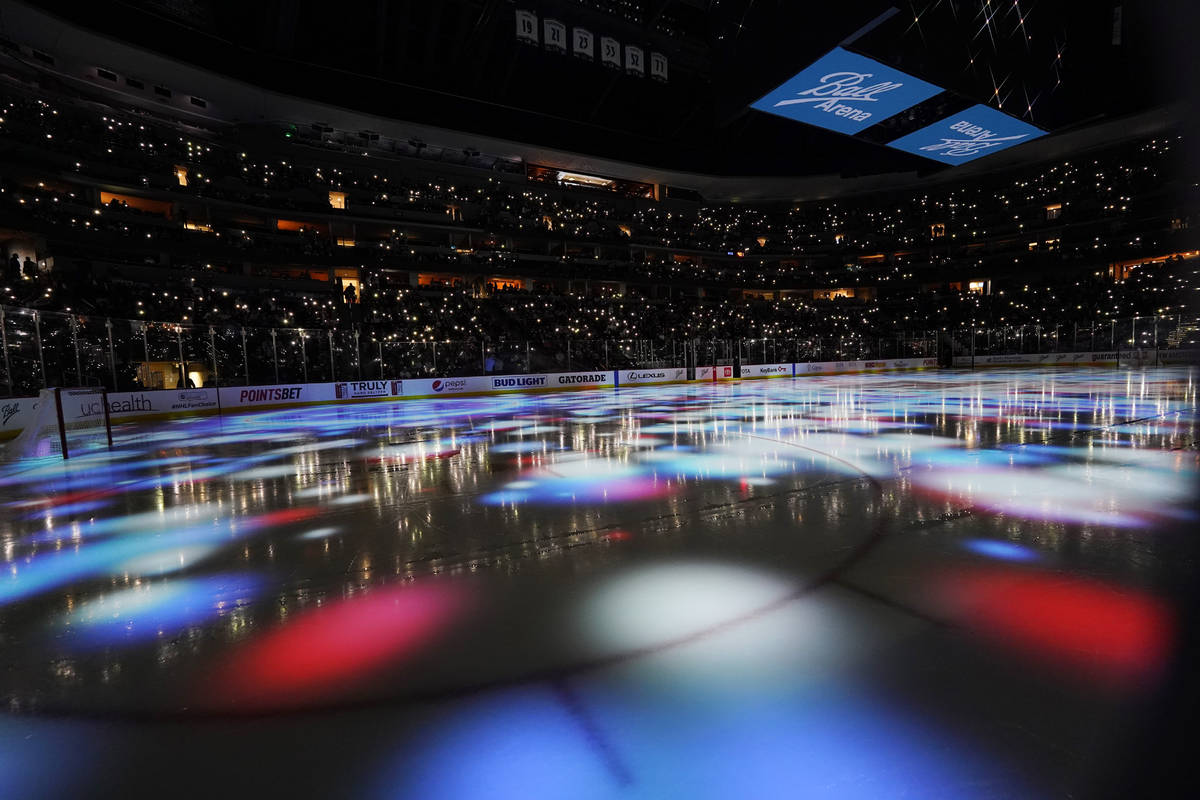 Lights illuminate the playing surface before the third period of Game 5 of an NHL hockey Stanle ...