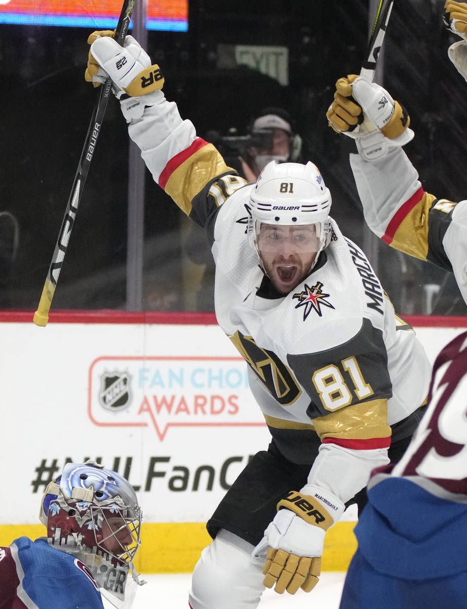 Vegas Golden Knights center Jonathan Marchessault celebrates after scoring the tying goal again ...