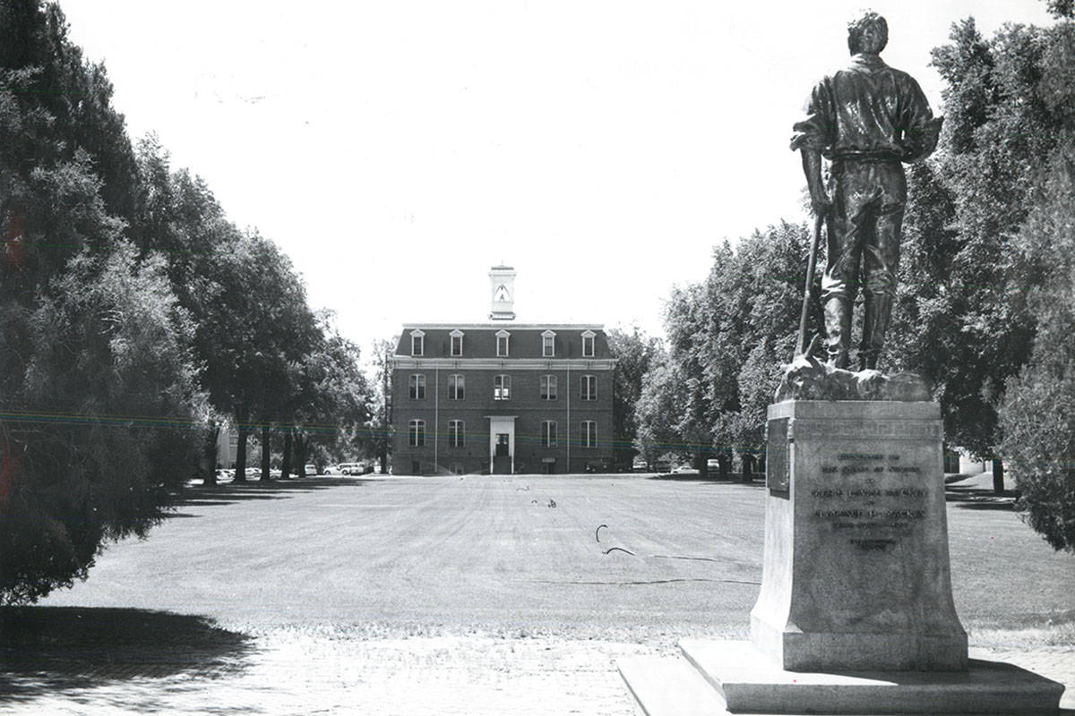 The University of Nevada, Reno, will leave a more than century old statue standing on its campu ...
