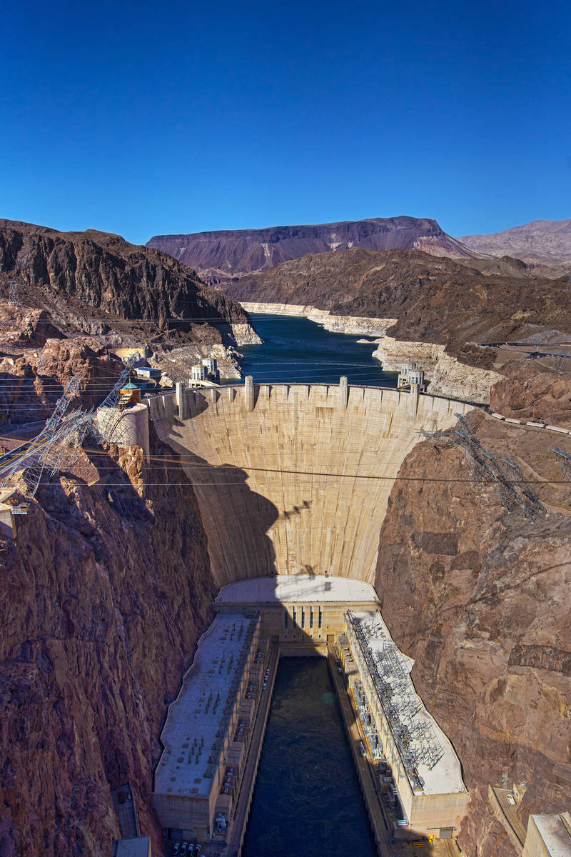 Lake Mead and the Hoover Dam on Tuesday, June 8, 2021, in Boulder City, Nev. (Benjamin Hager/La ...